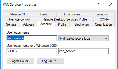 VAC Service account in Active Directory